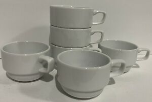 (6) VTG Rego Coffee/Espresso Cup Stackable White Porcelain Compact Space 9G1211