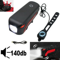 USB Rechargeable Waterproof T6 LED Bicycle Bike Front Headlight Lamp +140dB Horn