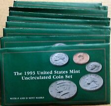 LOT OF TEN (10) 1993 US MINT SETS -- 100 UNCIRCULATED BU COINS IN MINT CELLO P+D