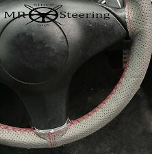 FOR VOLVO P122 S GREY PERFORATED LEATHER STEERING WHEEL COVER DARK RED DOUBLE ST