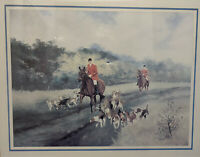 Vintage Fred Groves Lithograph Art Print Hunting in The Fields Horse Equestrian
