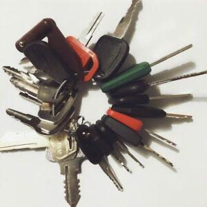 20 Construction Ignition Keys / Heavy Equipment Key Set CAT Komatsu volvo Kubota