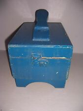 VINTAGE BLUE PAINTED WOODEN SHOE SHINE BOX WITH BRUSH