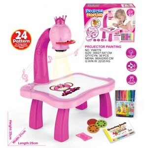 Children Magnetic Plastic Drawing Board Projector Painting Tool Educational pink