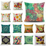 "18"" Colorful Flowers Cotton Flax Linen Cover Pillow Case Sofa Home Decor Cushion"