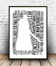 Starwars darth Vader :  Star Wars words Spelled out in poster, Wall art.