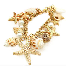 NEW Absolutely Gorgeous Beach Theme Bracelet~Starfish/Pearls/Shells~W/Gift Bag