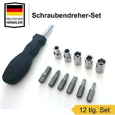 Schraubendreher Set 12 tlg  Schraubenzieher Aufsätze Bits Nuss Steckschlüssel