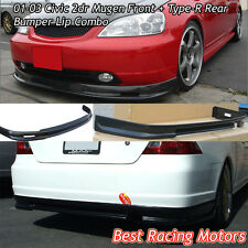 Mu-gen Style Front (PU) + TR Style Rear (ABS) Bumper Lip Fit 01-03 Civic 2dr