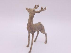 Vintage Brass Reindeer Deer Ornamental Decor Metal Mantle Christmas Figurine