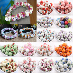 10/20Pcs Flower Pattern Round Ceramic Porcelain Loose Beads For Jewelry 12mm