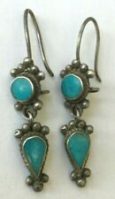 BEAUTIFUL ANTIQUE ETHNIC AFGHAN KUCHI VINTAGE SILVER TURQUOISE PENDANT EARRINGS