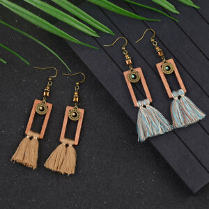 Vintage Women Bohemian Boho Tassel Dangle Square Wooden Hook Turquoise Earrings