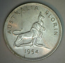 1954 Silver Australia Florin Two Shilling Coin BU