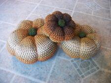 SALE Crochet Pumpkins - Set of 3 Rustic Brown/Tan/Rust Colors Thanksgiving