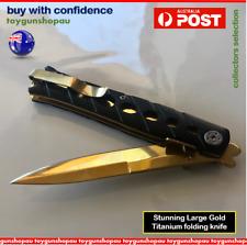Large GOLD Titanium Knife Pocket Folding Gold Knife Hunting Camping Gold Knife