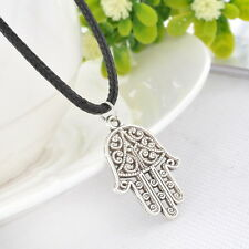 1PC Men's Women's Hamsa Fatima Silver Pendant Necklaces Black Wax Rope Chain