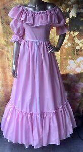 Vintage 1970s Ronald Joyce Pink Prairie Edwardian Bridesmaids Dress Hen XS