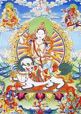 "Tibet Buddhism Thangka Longevity Fortune Godess Five Sisters Printed Brocade 13"""