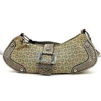 Guess Shoulder Bag Handbag Purse Beige Gold Canvas Logo Faux Snakeskin Trim