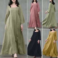ZANZEA UK Women Casual Loose Plain Solid Kaftan Abaya Gown Flare Long Maxi Dress