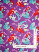 Disney Little Mermaid Ariel On Purple Cotton Fabric Springs CP65366 By The Yard