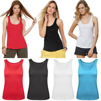 PACK OF 2 LADIES COTTON VEST WOMEN PLAIN SUMMER STRETCHY CASUAL TANK TOP T SHIRT