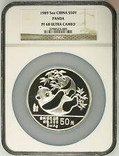 China 1989 5 oz 50Yuan Silver Proof Panda - NGC PF68UC - SN:2798523-005