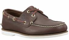 Timberland Para hombres Cuero 2 Ojo Clásico cosida a mano Zapatos Náuticos Marrón oscuro Estilo 74035