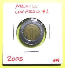 2005 Un Peso $1 Mexico Clad Mexican World Coin Mexicano Circulated 479