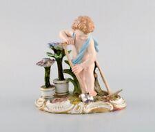 Antique Meissen figure in hand-painted porcelain. Boy Gardener. Late 19th C.