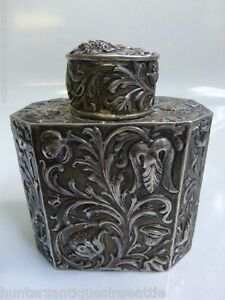 Antique Simon Rosenau 800 fine Silver Repousse German Tea Caddy
