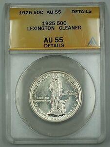 1925 Lexington Commem Silver Half Dollar ANACS AU-55 Details Cleaned Nice Luster