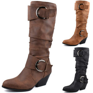 Womens Leather Biker Knee High Midi Calf Boots Ladies Low Heel Buckle Shoes Size