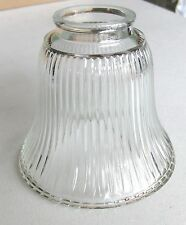 """Clear Glass Halophane Ribbed-Lamp Globe-4.5""""H x 2"""" lip fit x 5"""" rnd- 5 available"""