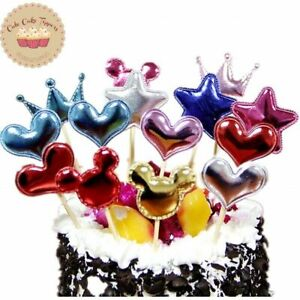 ⭐6 pcs Multicolour Heart  Cake Topper for kids Birthday Cake Cupcake Decoration⭐