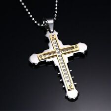 New Cross Pendant Womens Stainless Steel Punk Jewelry Silver Chain Necklace Gift