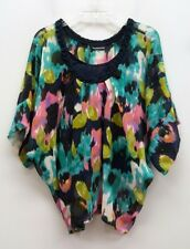KAS NEW YORK Size S Navy Blue Pink Aqua Pullover Flowy Blouse Top