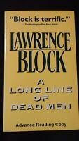 A Long Line of Dead Men by Lawrence Block 1996 SC SIGNED ARC Avon Scarce