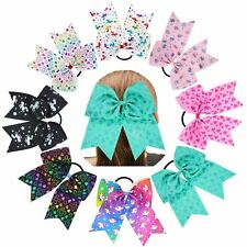 "8Pcs/Lot 8"" Inch Grosgrain Heart Unicorn Print Large Big Bow Hair Tie Rope Ring"