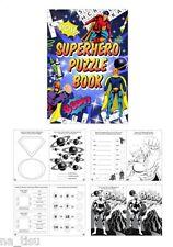 12 SUPERHERO FUN PUZZLE BOOK Activity Party Bag Filler MAZE CROSSWORD dot-to-dot