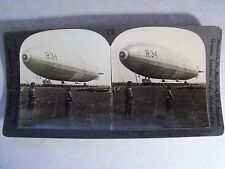 WW1 DIRIGIBLE R-34 AT MINEOLA, KEYSTONE VIEW CO. STEREOVIEW CARD WWI! v19216