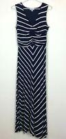 Grace Hill Womens Navy/White Striped Sleeveless Long Dress Size 10