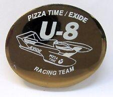 1995 PIZZA TIME EXIDE bronze ceramic 1 of 50 pinback button hydroplane boat