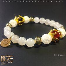 Gold Crown Bead Bracelet, Crystal Quartz Bracelet, Quartzite White Bead Bracelet