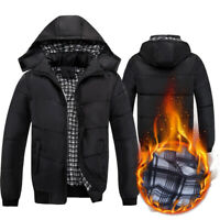 Men Winter Hooded Thicken Padded Jacket Zipper Soft Outwear Warm Outwear Coat