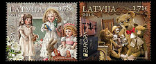 Old Toys dolls teddy bears mnh set of 2 stamps 2015 Latvia #907-8 Europa