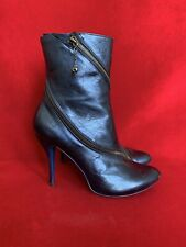 Alexander Mcqueen Metallic Blue Leather With Zippers Ankle Bootie Size 39.5