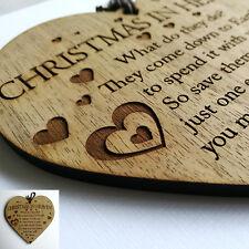 Noël dans le ciel Arbre de Noel Décoration plaque commémorative-Citation Coeur Amour-Poème