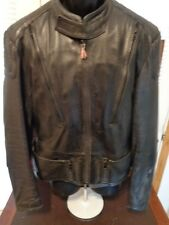 VINTAGE HEIN GERICKE black leather motorcycle jacket 42 W/Liner CAFE RACER